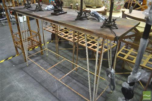 Timber Top Hall Table on Wrought Iron Base