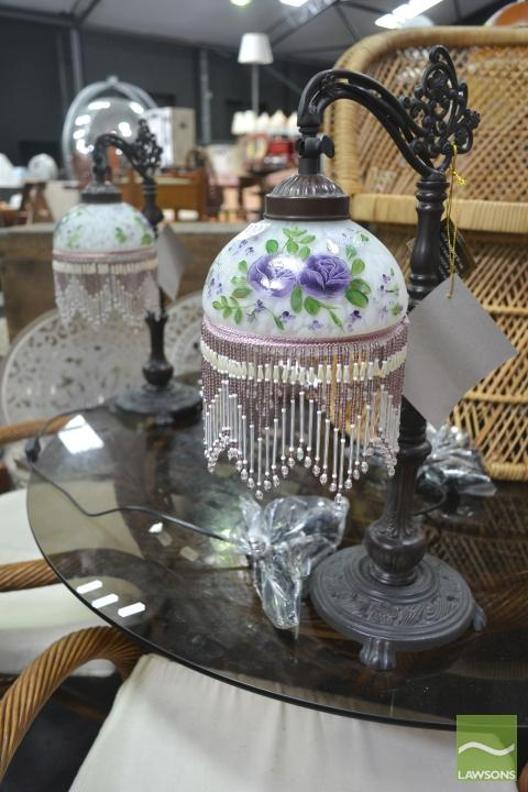 Pair of Glass Beaded Shade Table Lamps