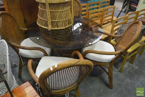 Cane Five Piece Outdoor Setting incl. Round Glass Top Table & Four Chairs with Cushions