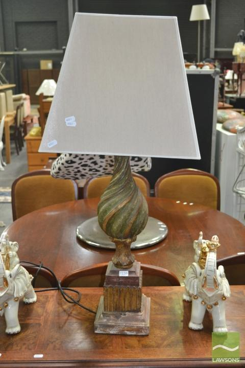 Carved French Lamp with Silk Shade