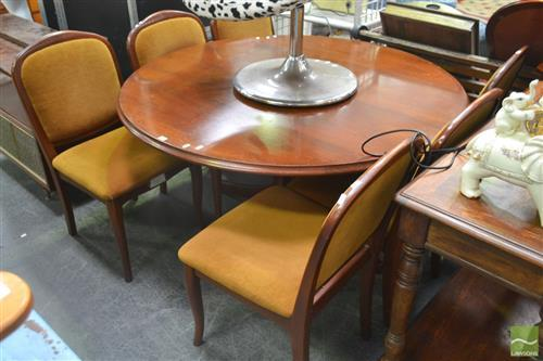 Seven Piece Dining Suite incl. Round Timber Dining Table and Six Chairs