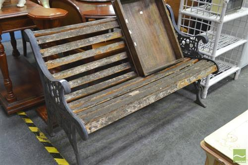 Timber Slat Outdoor Bench with Iron Ends