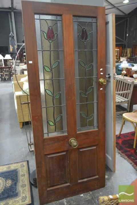 Timber Door with Coloured Leadlight Panels