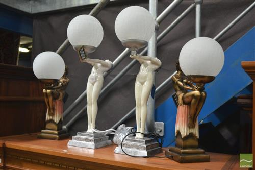 Two Pairs of Glass Ball Shade Table Lamps