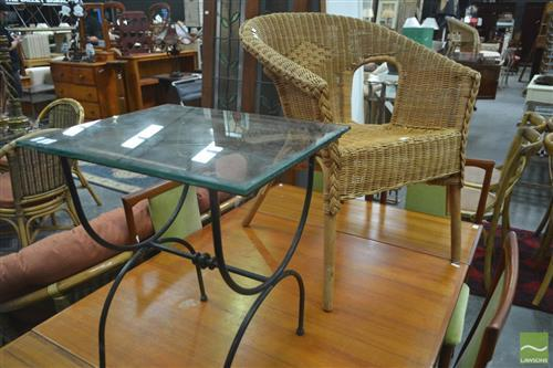 Wicker Armchair & Glass Top Outdoor Table on Metal Base