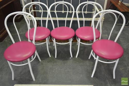 Set of Five White Metal Bentwood Style Kitchen Chairs
