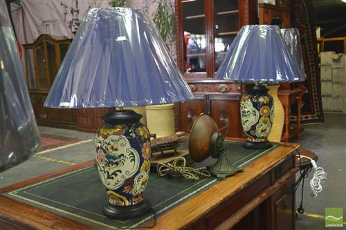 Pair of Hand Painted Floral Lamps, Belgium (3389)