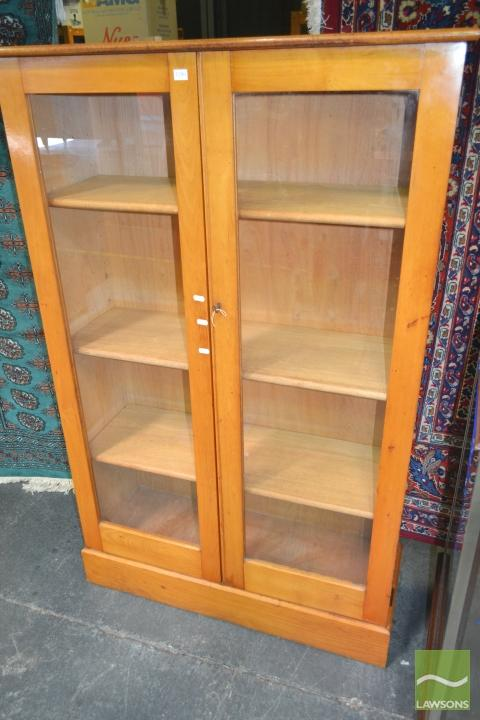 Timber Bookcase with Two Glass Panel Doors