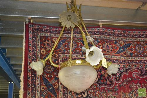 Art Nouveau Brass Light Fitting
