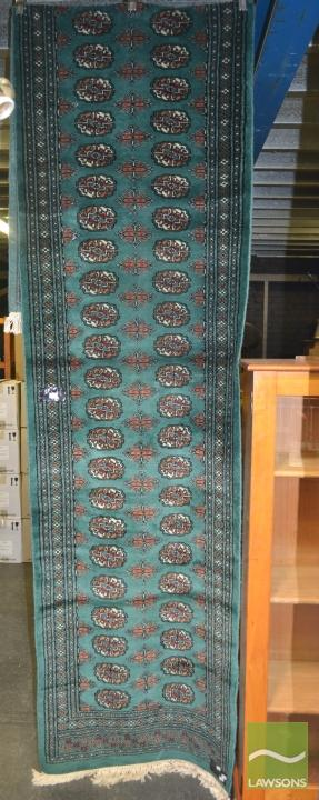 Handknotted Pakistani Runner in Green Field with Rowed Central Medallions (360 x 80cm)