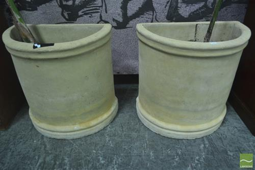 Pair of Demi Lune Composite Form Planters