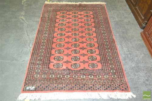 Hand Knotted Pakistani Carpet in Red Tones (126x180)