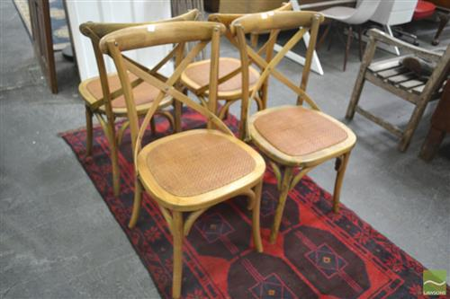 Set of Four Cross Back Dining Chairs