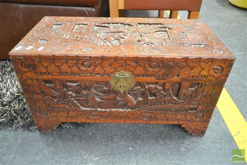 Small Carved Lift Top Trunk