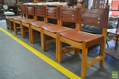 Set of Six Timber Frame Leather Strap Dining Chairs