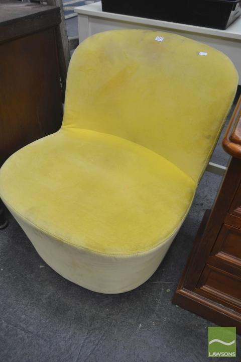 Yellow Upholstered Swivel Chair