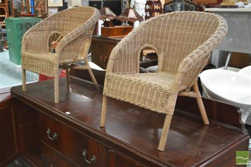 Pair of Childrens Wicker Chairs