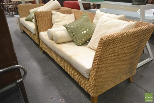 Pair of Seagrass Two Seater Lounges with Cushions