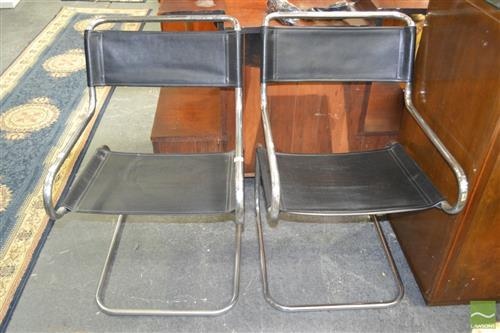 Pair of Chrome and Leather Office Chairs