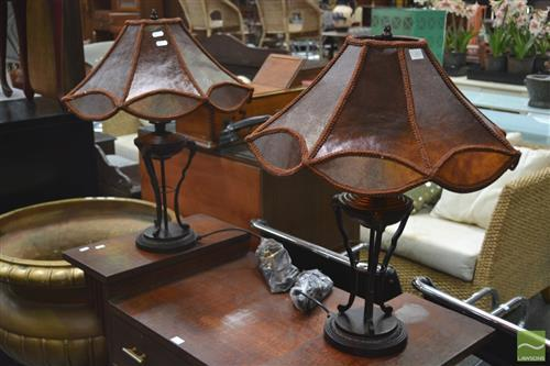 Pair of Table Lamps with Brown Shades