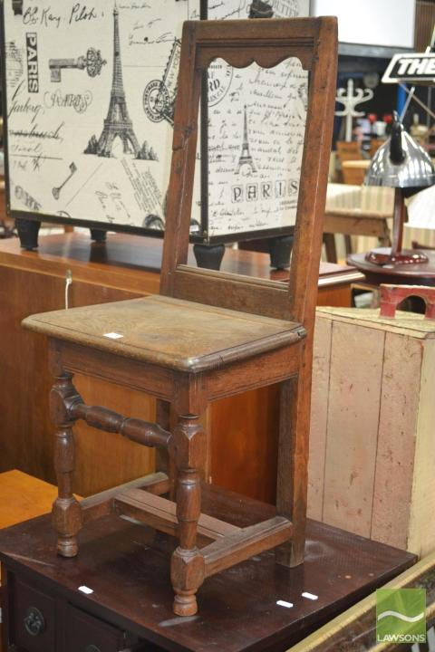 17th Century Style Possible Chestnut Small Chair, with turned legs & stretchers (break to back)