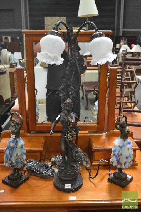 Pair of Table Lamps & Another Lady Figural Table Lamp
