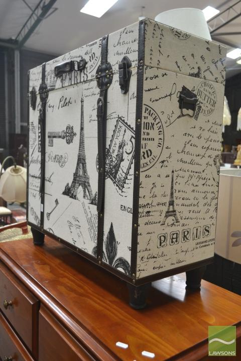 Paris Themed Lift Top Trunk