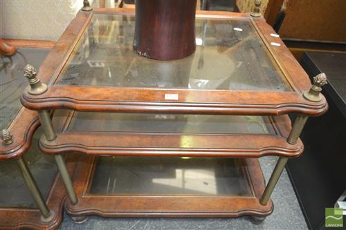 Pair of Tiered Sidetables with Glass Shelves