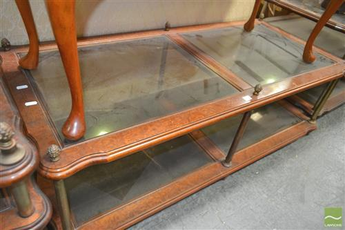 Glass Top Coffee Table with Column Supports