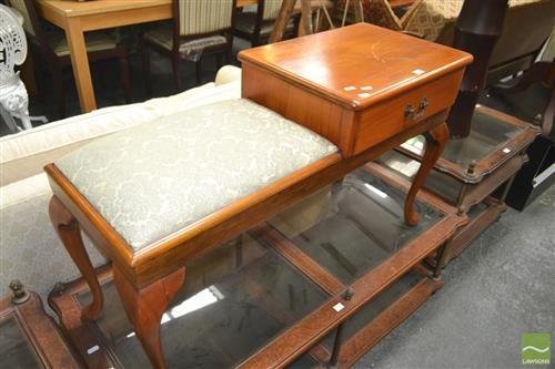 Retro Telephone Table with Single Drawer on Cabriole Legs