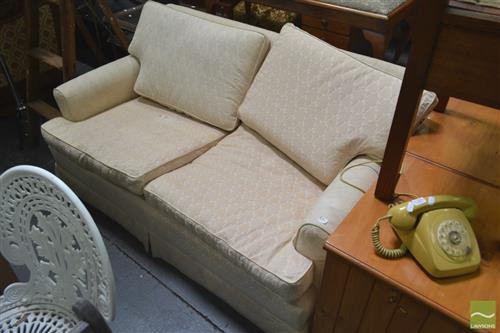 Cream Upholstered Two Seater Lounge