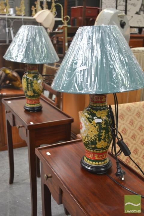 Pair of Crackle Glaze Lamps, Italy (4560)