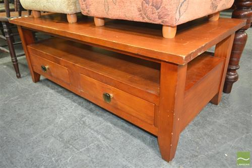 Tiered Timber Coffee Table with Two Drawers
