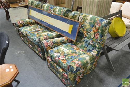Art Deco Three Piece Lounge Suite with Floral Upholstery