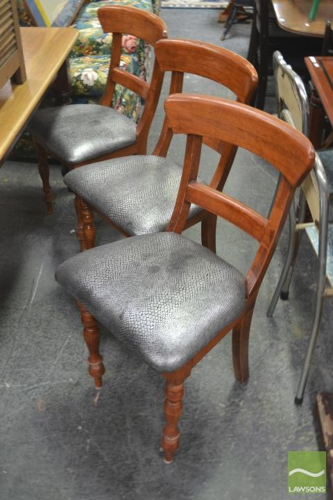 Set of Three Bar Back Dining Chairs with Faux Alligator Skin Upholstery