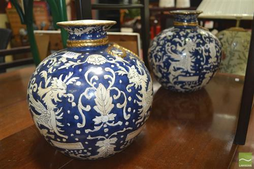 Pair of Antique Style Blue & White Vases (mus1)