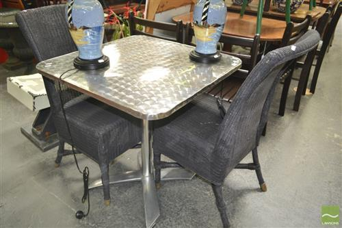 Pair of Wicker Chairs & Tilt Top Cafe Metal Table