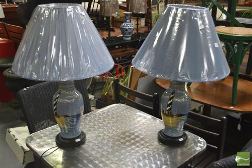 Pair of Lighthouse Lamps, Belgium (3413)