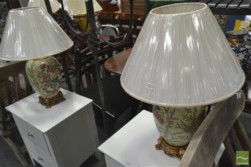 Pair of Floral Ceramic Table Lamps on Gold Bases (4524)