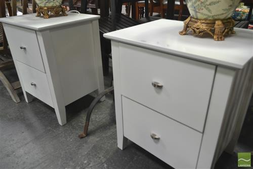 Pair of White Modern Two Drawer Bedsides