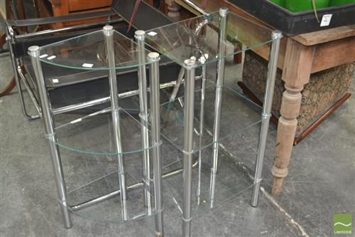 Two Similar Modern Side Tables with Glass Shelves