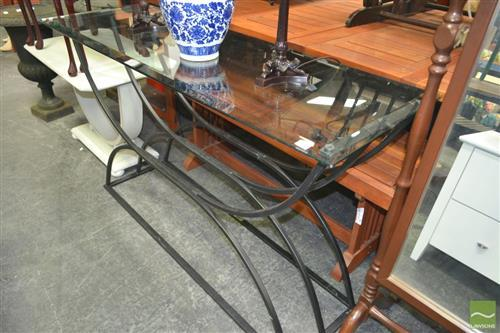Glass Top Hall Table on Metal Hoop Base
