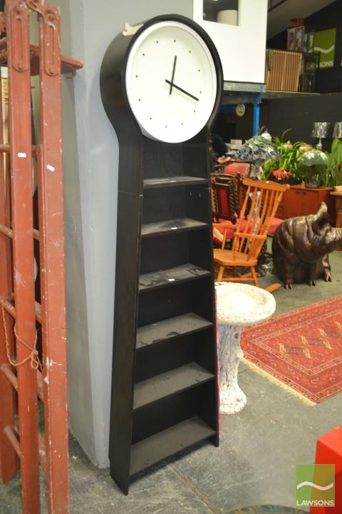Modern Grandfather Clock with Shelving