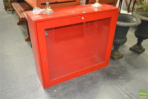 Red Painted Display Cabinet