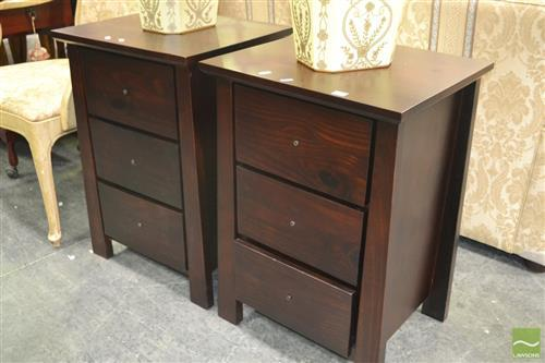 Pair of Timber Three Drawer Bedside Cabinets