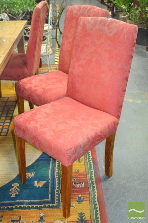 Set of Six Red Upholstered Dining Chairs