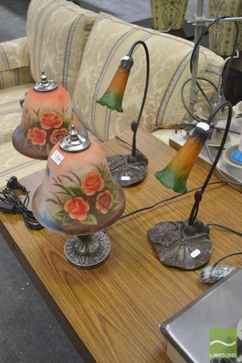 Two Pairs of Glass Shade Table Lamps