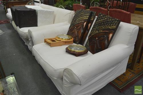 Three Piece Oversized Lounge Suite incl. Three Seater and Pair of Armchairs