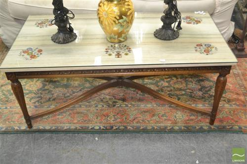 Glass and Marble Top Coffee Table with floral motif inlay on carved timber base