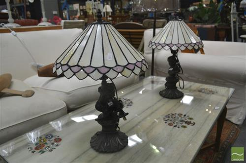 Pair of Leadlight Shade Table Lamps with Lady Form Bases
